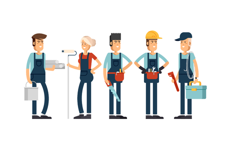 Cool vector concept layout on construction team characters Stock Illustratie