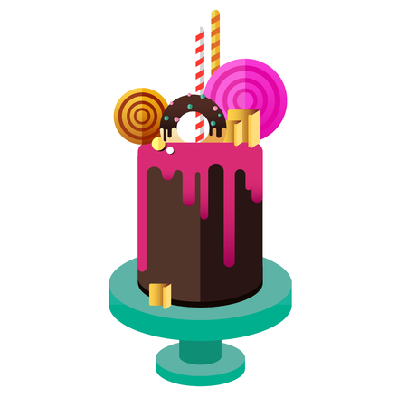 Birthday cake. Flat icon of colorul marzipan