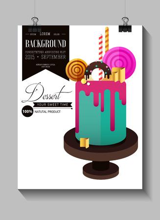 Birthday cake. Flat icon of colorul marzipan