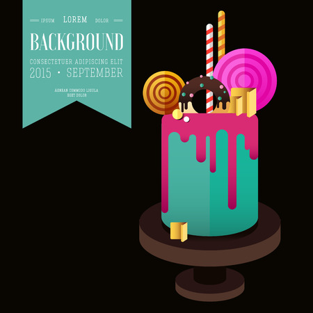 licorice sticks: Birthday cake. Flat icon of colorul marzipan