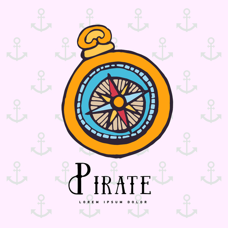 Vintage Nautical Compass Symbol Of Pirates Royalty Free Cliparts