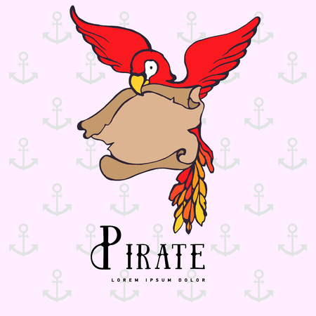 pampered: Hand drawing cartoon pirate parrot with treasure