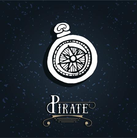 Vintage nautical compass. Symbol of pirates