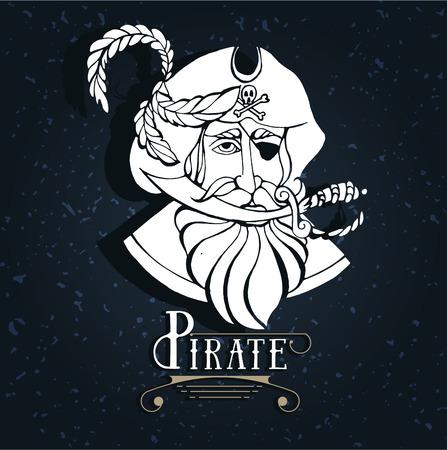 Mano silueta de dibujo de un pirata con