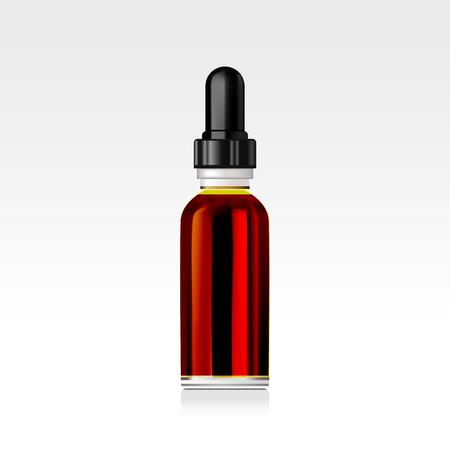 Realistic essential oil bottle. Mock up.