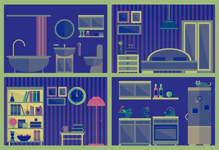 Set di interni vettoriali con mobili Archivio Fotografico - 77480982