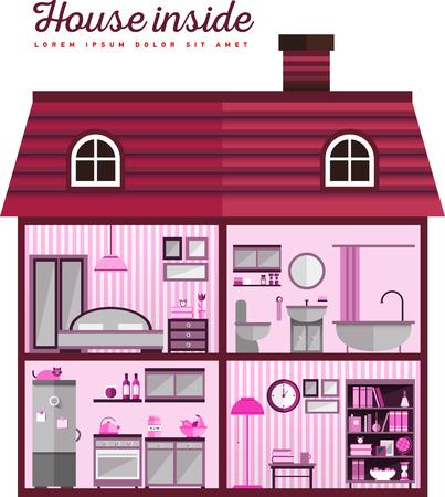 Flat illustration of house in cut Vettoriali