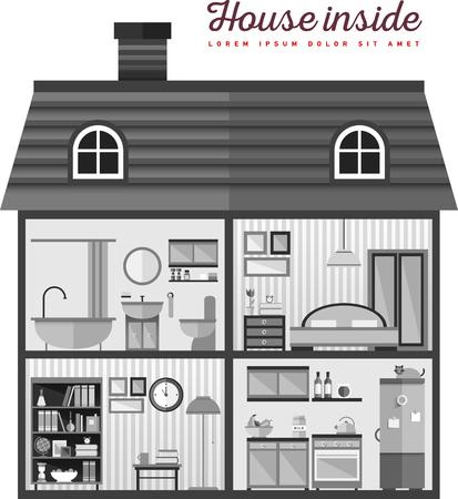 Flat illustration of house in cut Illustration