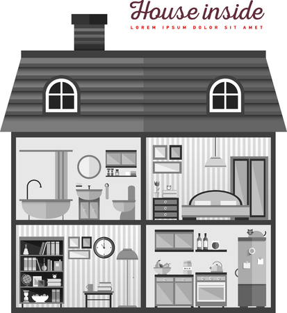 Flat illustration of house in cut Stock Illustratie