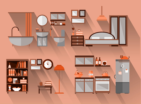 functional: Flat illustration of house in cut Illustration