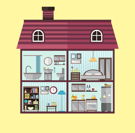 Flat illustration of house in cut Illustration