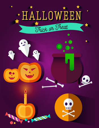 all souls' day: Set of halloween flat icons.