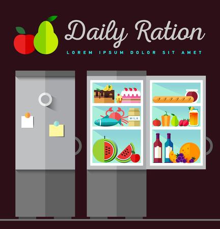 green crab: Vector Open fridge full of healthy