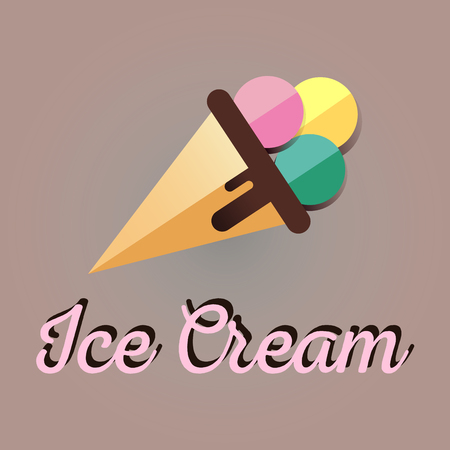 Ice Cream icon. Flat sign scoops of Ilustrace