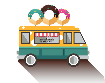 snack bar: Flat van and donut. Truck with dessert. Illustration