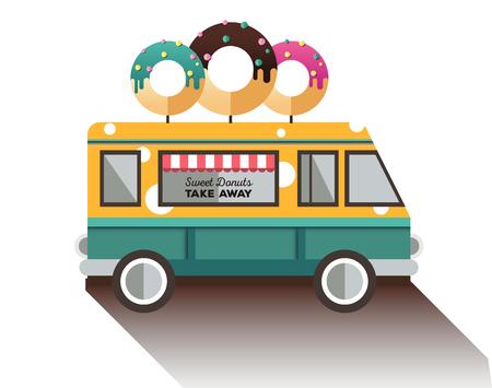 Flat van and donut. Truck with dessert. Illustration
