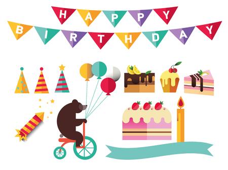 catoon: Set of flat catoon birthday party elements. Decoration Illustration