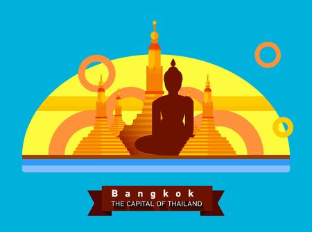 buddhist monk: Bangkok,Thailand flat landscape of the city. Travel to Asia