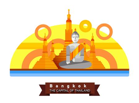 Bangkok, Thailand flache Landschaft der Stadt. Reisen nach Asien Standard-Bild - 77514415