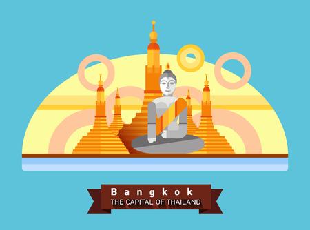Bangkok, Thailand flache Landschaft der Stadt. Reisen nach Asien Standard-Bild - 77514418