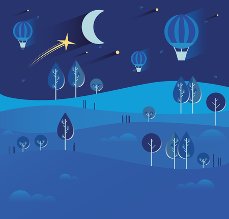 Night landscape with stars and moon, hot air balloons, tractor,
