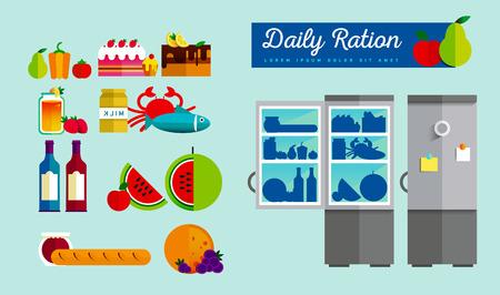 Vector open fridge full of healthy fresh