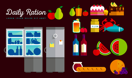 green crab: Vector open fridge full of healthy fresh