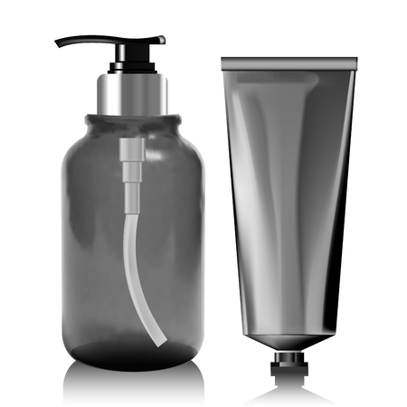 gels: Realistic bottle of liquid soap. Illustration