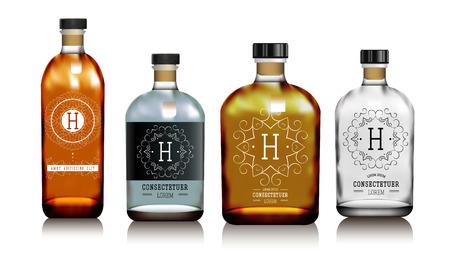 Realistische vector glazen flessen voor alcohol, zoals vodka, cognac, whisky. Rode en transparante verpakking voor alcoholische dranken met sticker, label. Mock up.