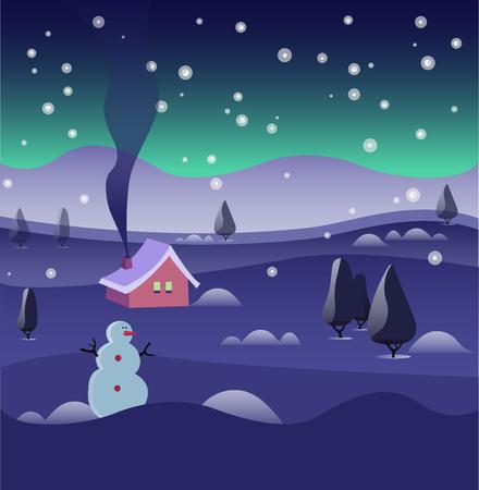 mountin: Winter season. Christmas and New Year. Illustration