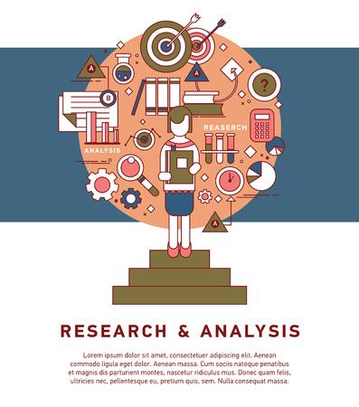 Doodle stijl concept van algemeen onderzoek. Stock Illustratie