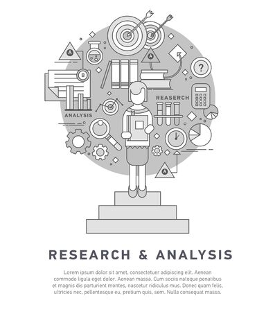 general: Doodle style concept of general research. Illustration