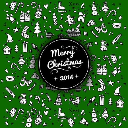 licorice sticks: Doodle Christmas background.