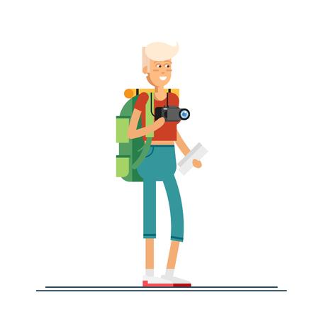 Hiking tourists walk. design Illustration