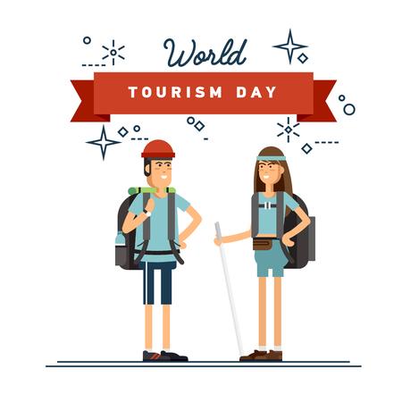 couple hiking: Hiking tourists walk. design Illustration
