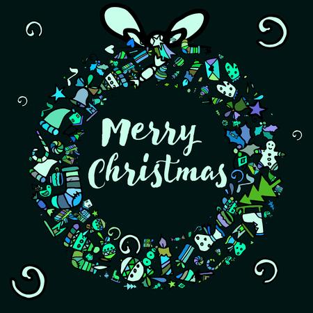 licorice sticks: Doodle Christmas background. New Year Illustration
