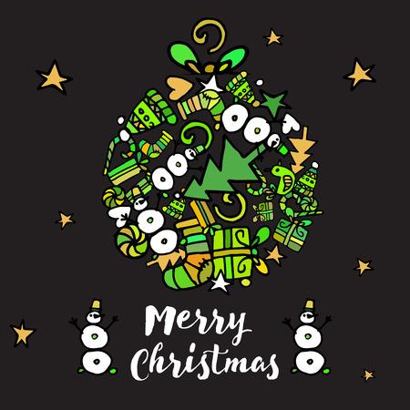 Doodle Christmas background. New Year Illustration