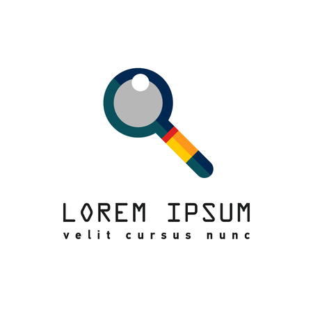 Logo with magnifier for search