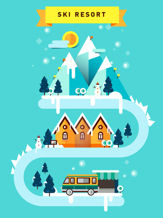 Flat illustration ski resort in mountain.
