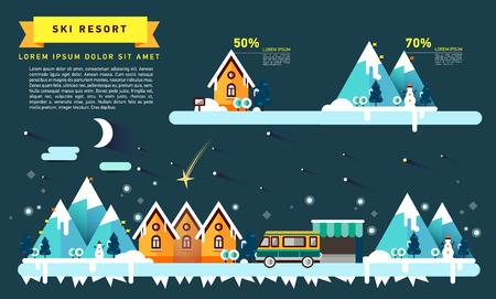 snowy hill: Flat illustration ski resort in mountain.