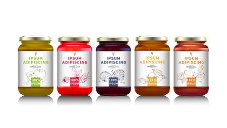 Glass jar with  jam, vector Vettoriali