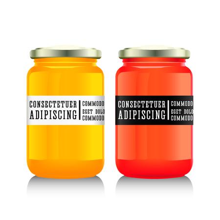 confiture: Glass jar with  jam