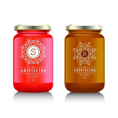 food: Glass jar with  jam