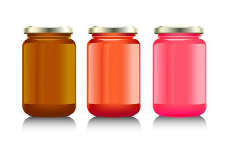 confiture: Glass jar with  jam,