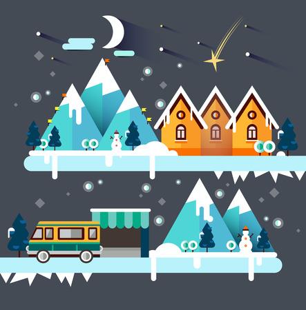 snowy hill: Flat illustration ski resort in mountain