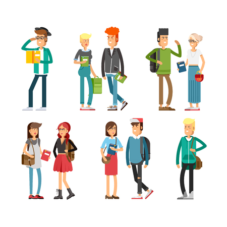 Flat illustratuion set of students