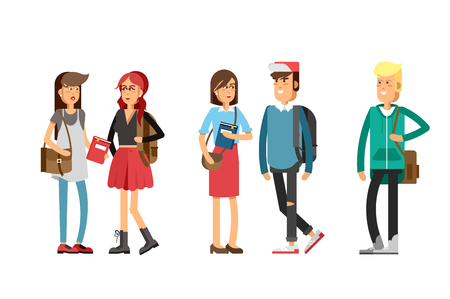 Flat illustratuion set of students