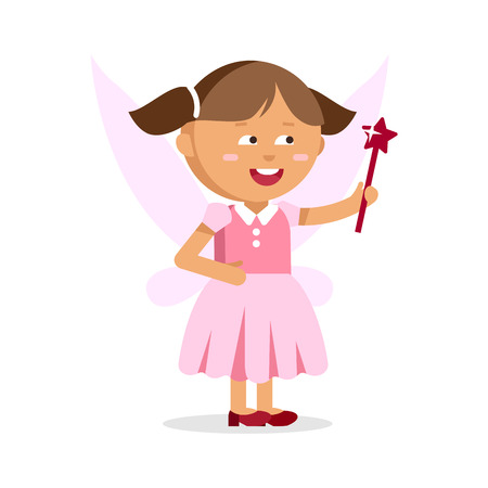 Cute little fairy girl with Magic wand Illustration
