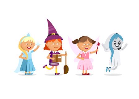 Fröhliches Halloween. Set von niedlichen Cartoon-Kinder Standard-Bild - 77740922