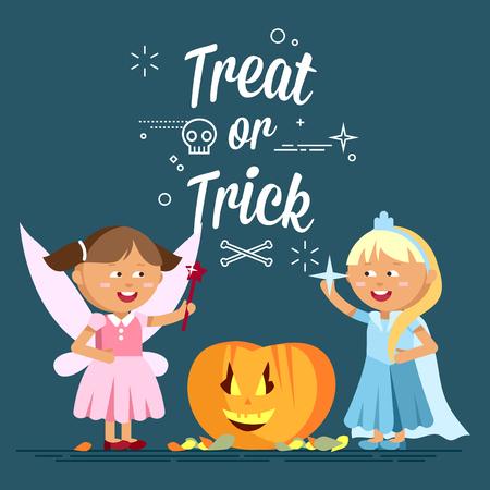 calavera caricatura: Feliz Halloween. Conjunto de niños de dibujos animados lindos Vectores
